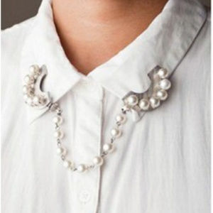 White Pearls Collar Tips & Chain ~ Silver
